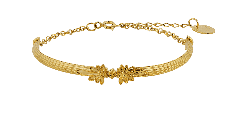 Gold Plated Column Hinged Bracelet