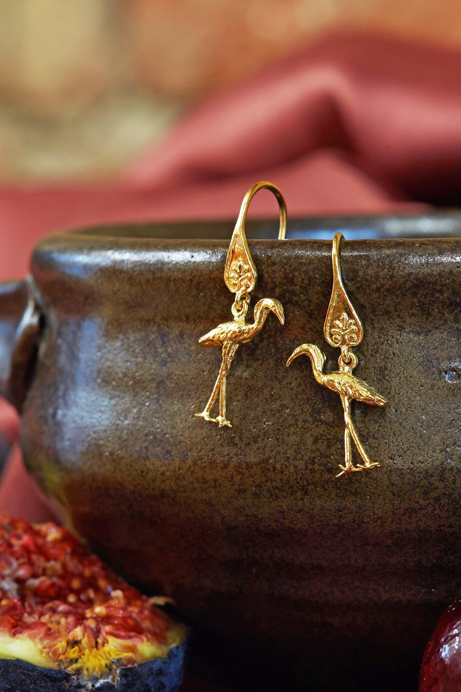 Heron Ornate Hook Earrings