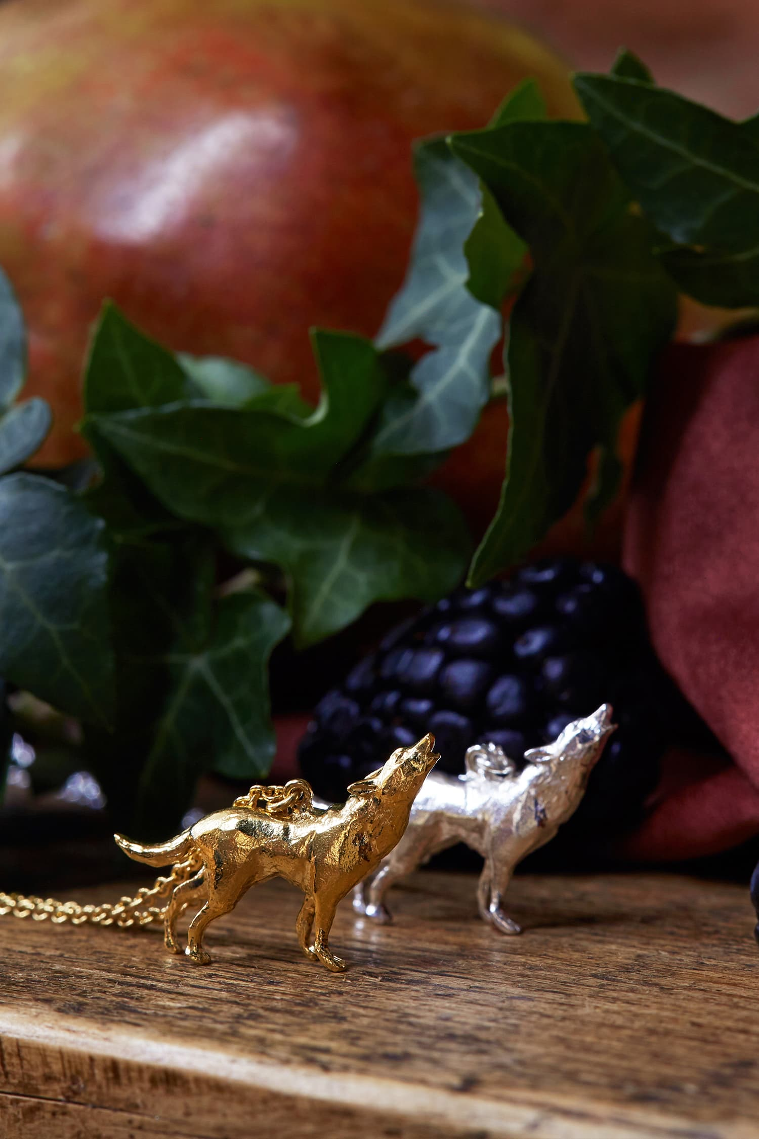 Howling Wolf Necklace in Gold Plate and Silver with Blackberries and Ivy leaves