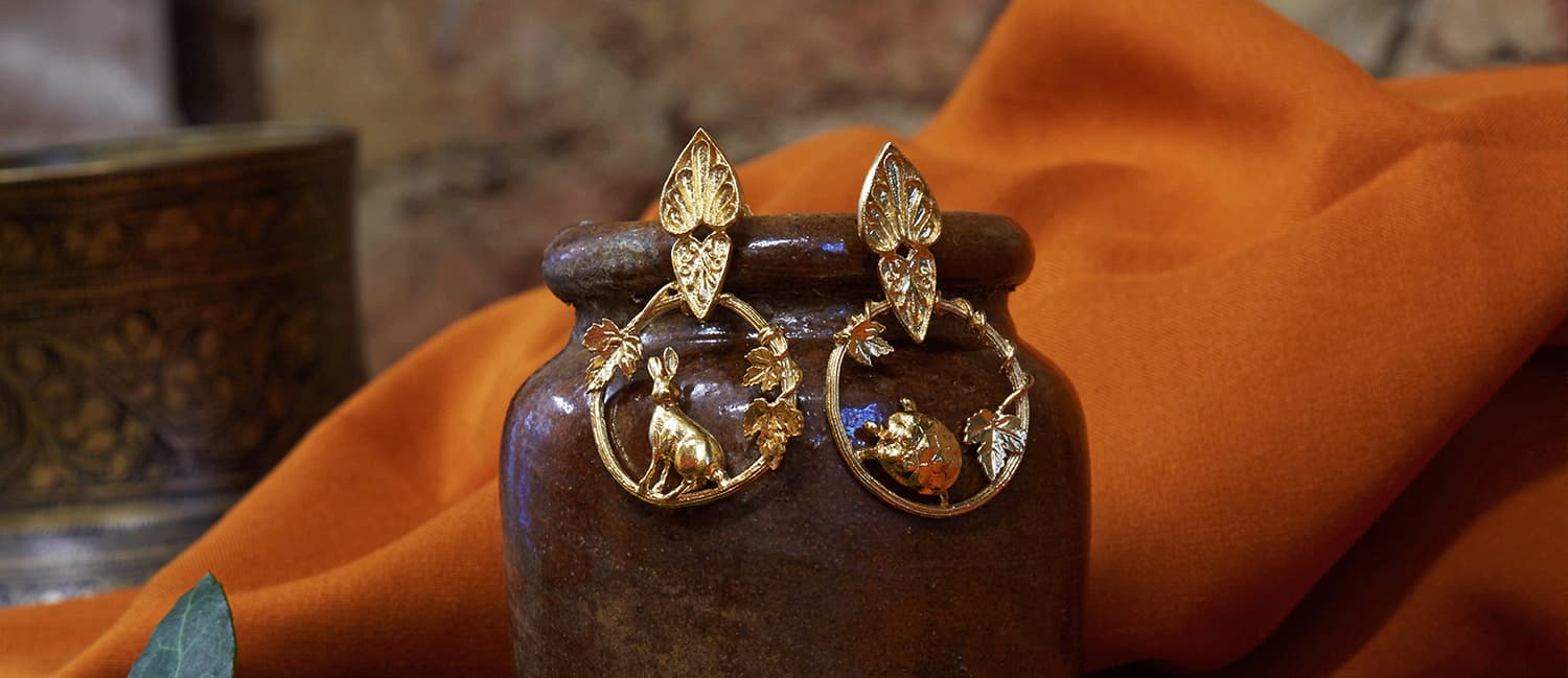 Hare and Tortoise ornate loop fairmined gold earrings