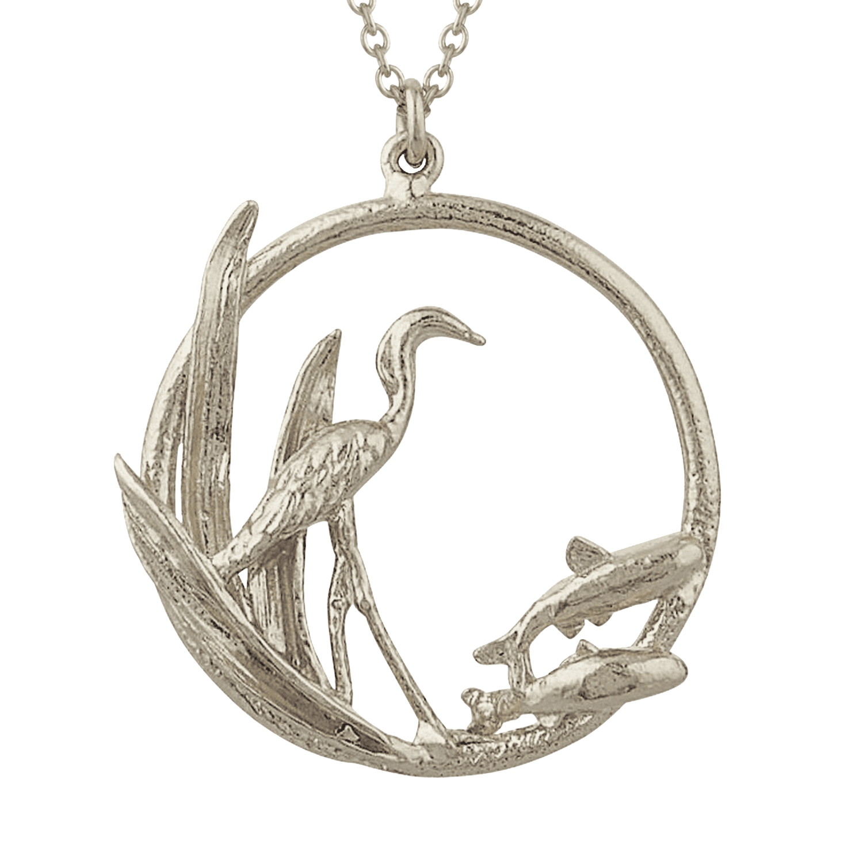 Silver Heron Loop Necklace