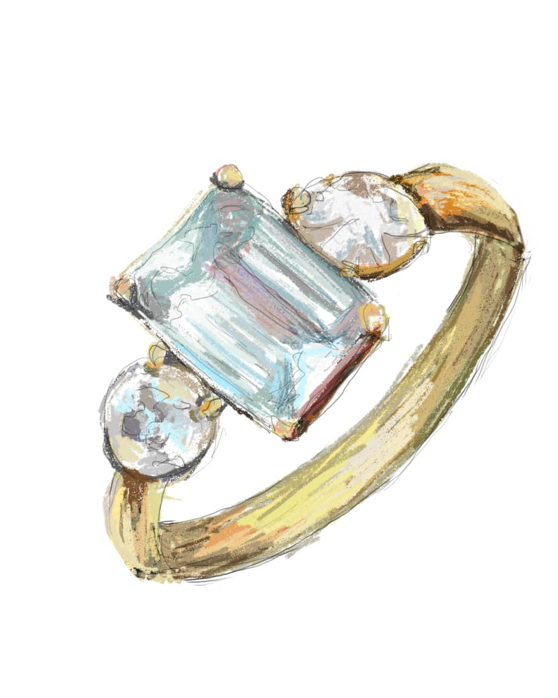 Olivia Colman's Aquamarine Engagement Ring