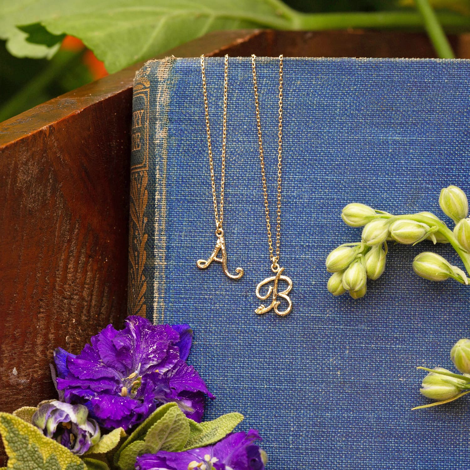 Enchanted Woodland 18ct Gold Alphabet Letter A and B Necklaces