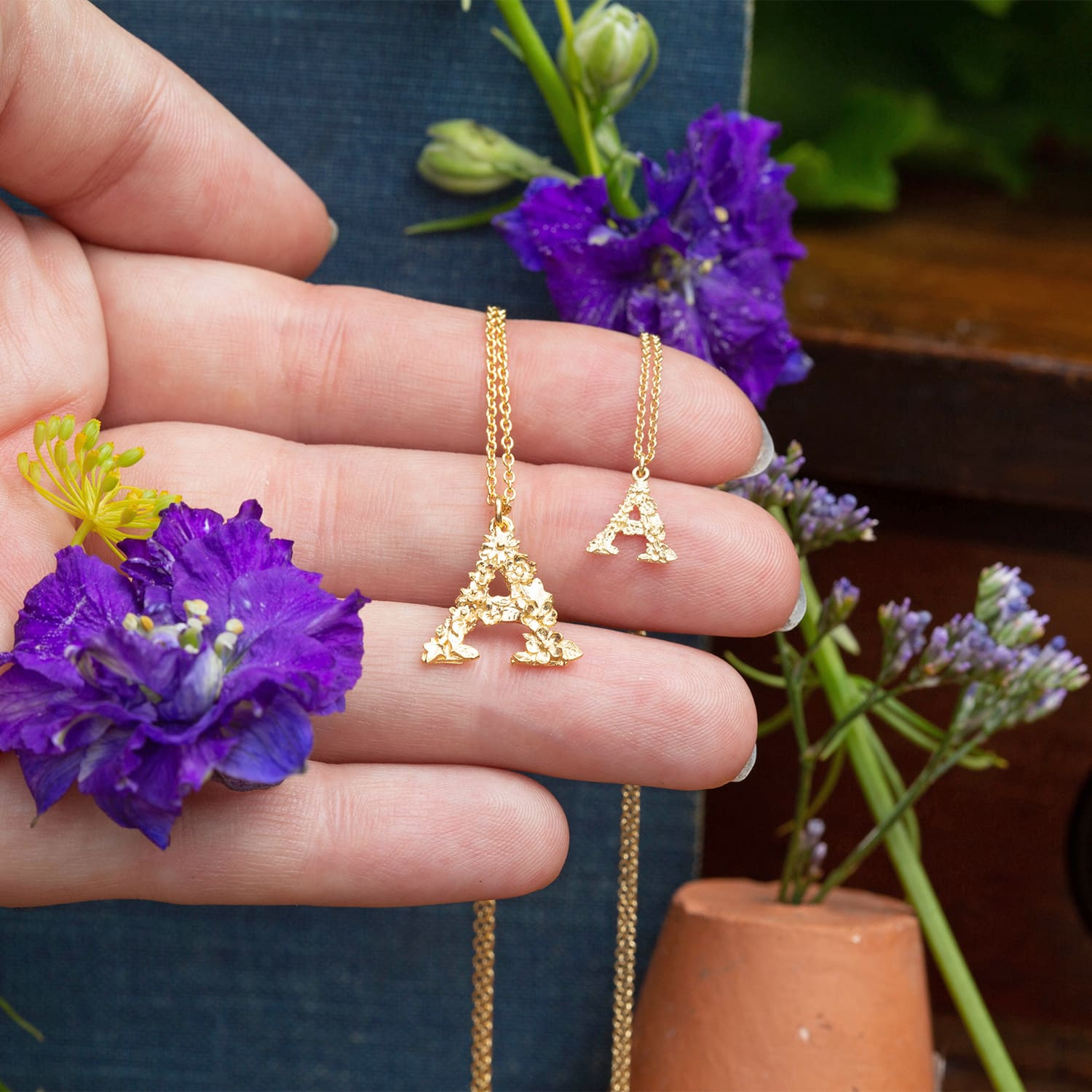 Teeny Tiny Floral 18ct Gold Letter A Necklace and Floral Alphabet Gold Plated Letter A Necklace