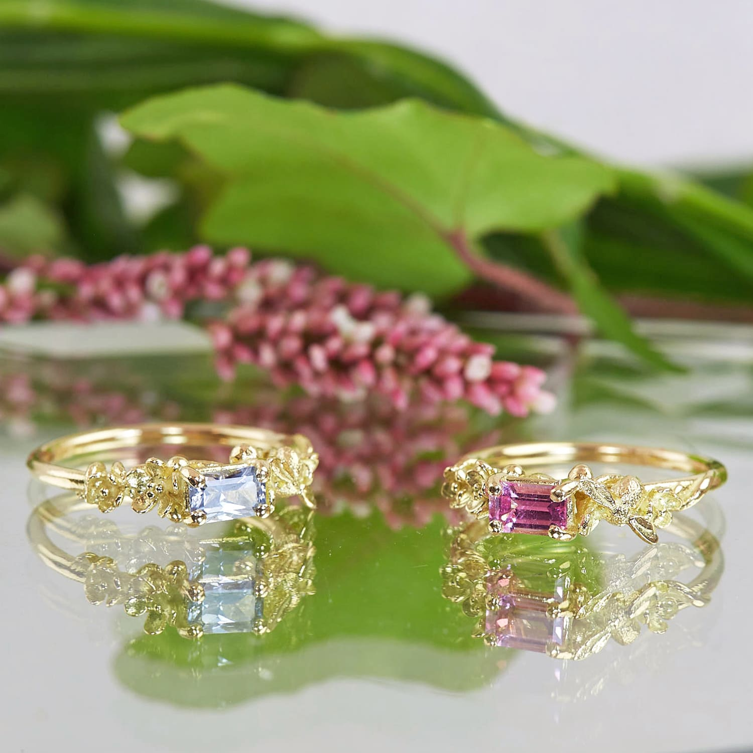 limited edition unique 18ct fine gold rings with emerald cut sapphire gemstones and bee details