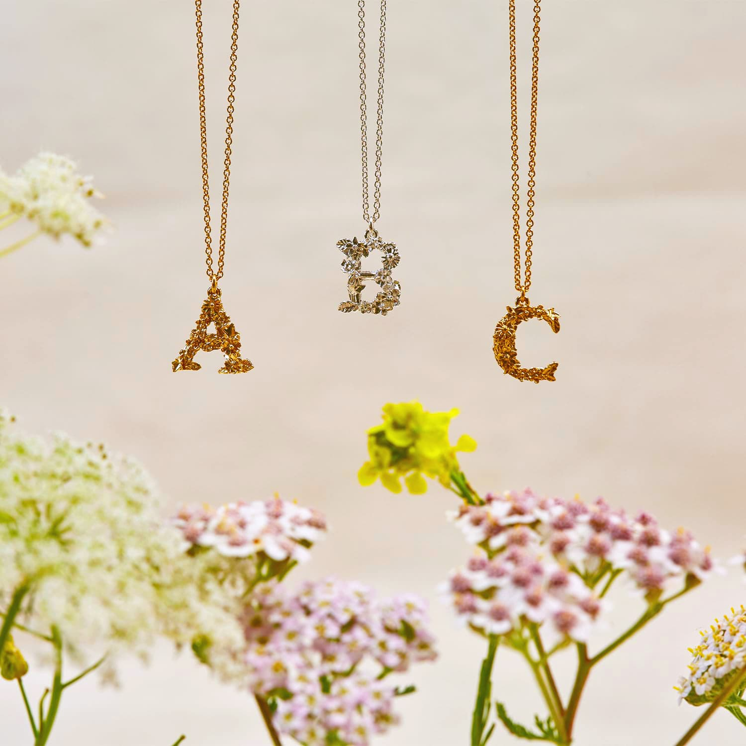 Floral Alphabet Silver and Gold Plate Letter A, B and C Necklaces with Flowers