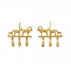Mountain Goat Family Relic Earrings with Ornate Drops Product Photo