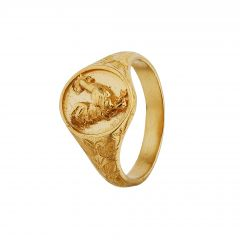 Ornately Engraved Signet Ring with Rooster Product Photo