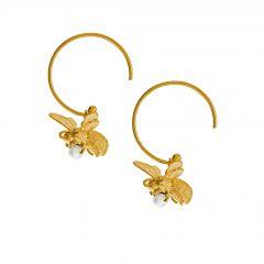 Flying Bee with Pearl Hoop Earrings Product Photo