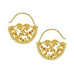 Flower-Power Lace-Edged Hoop Earrings Product Photo