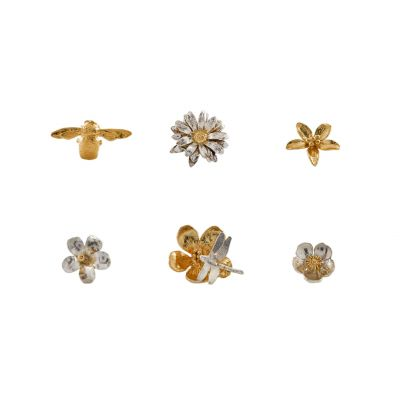 Set of 6 Mix Flower and Bee Small Pins Product Photo