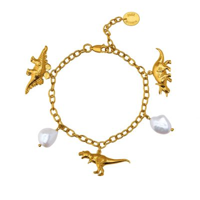 Dinosaur and Baroque Pearl Charm Bracelet Product Photo