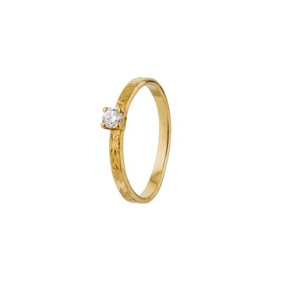 Horsetail Fossil Ring with Diamond Product Photo