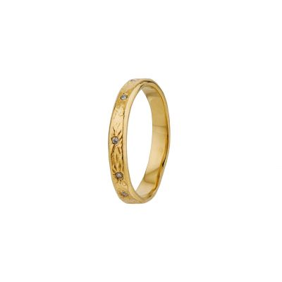 Horsetail Fossil Ring with 7 Diamonds Product Photo