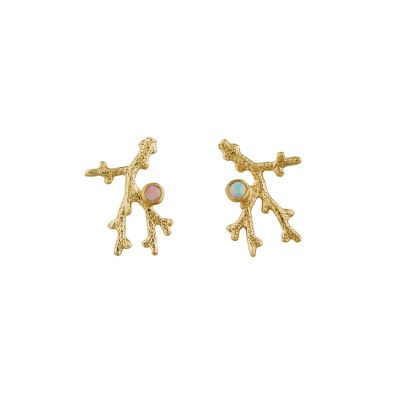 Coral Branch Stud Earrings with Opal Product Photo