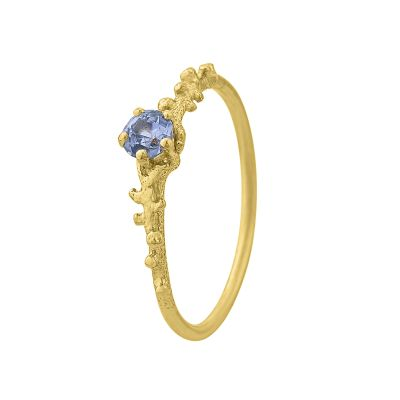 Coral Texture Blue Sapphire Solitaire Ring Product Photo