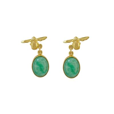 Bee & Emerald Drop Earrings Product Photo