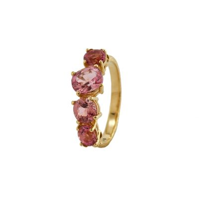 Bee Texture Ring with Inline Pink Tourmalines Product Photo