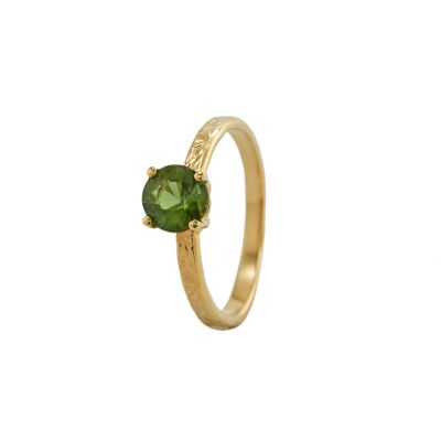 Horsetail Fossil and Green Tourmailine Ring Product Photo