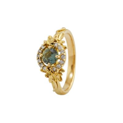 Large Spring Halo Ring with Ethical Frosted Field Green Sapphire and Diamonds