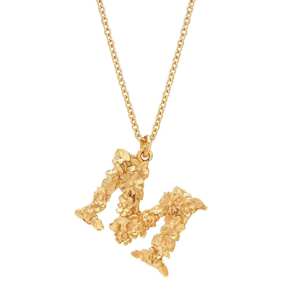 Floral Alphabet Gold Plate Letter M Necklace