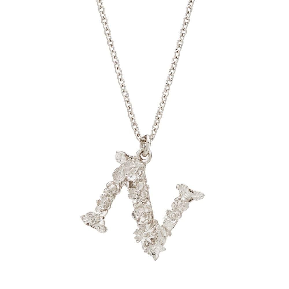Floral Alphabet Silver Letter N Necklace