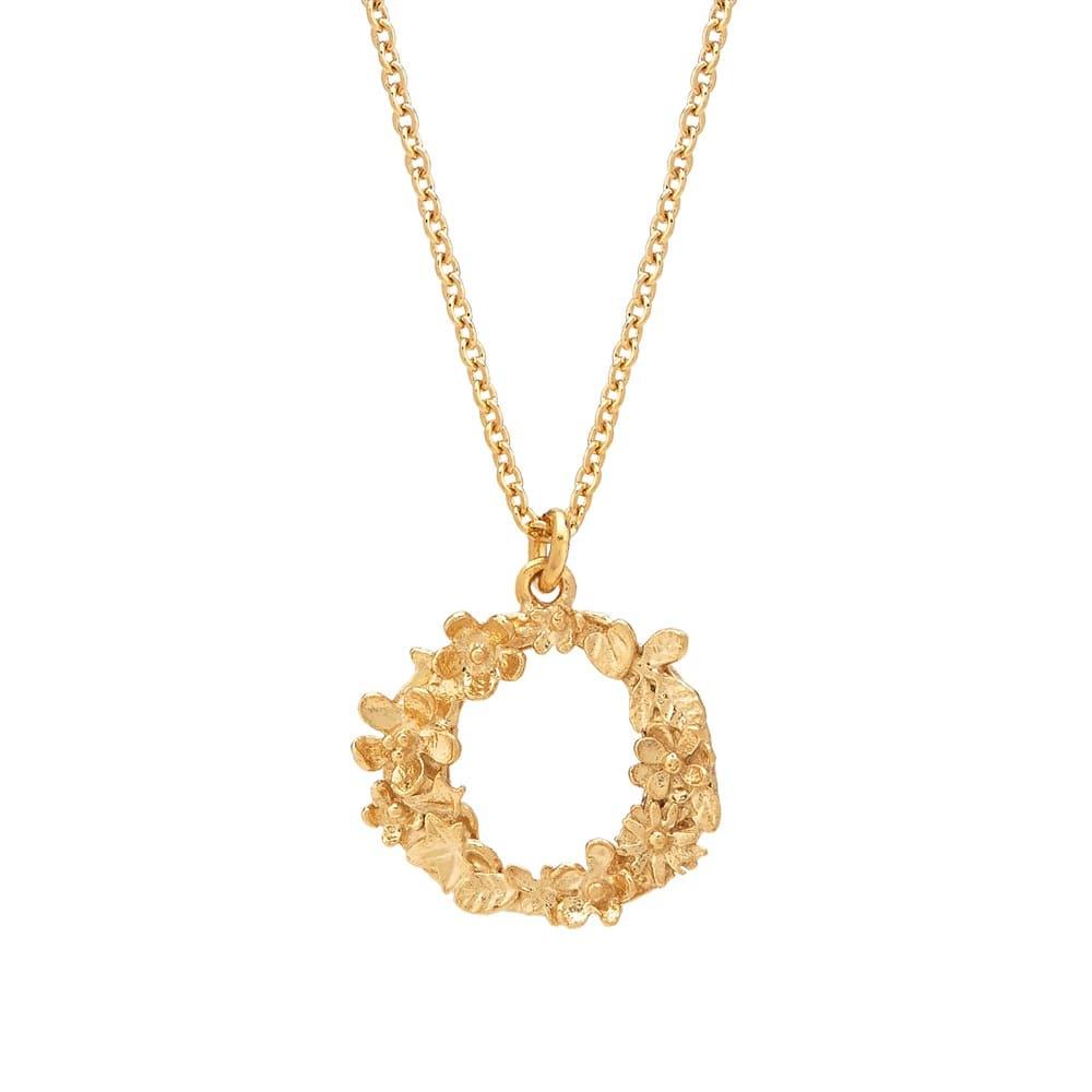 Floral Alphabet Gold Plate Letter O Necklace