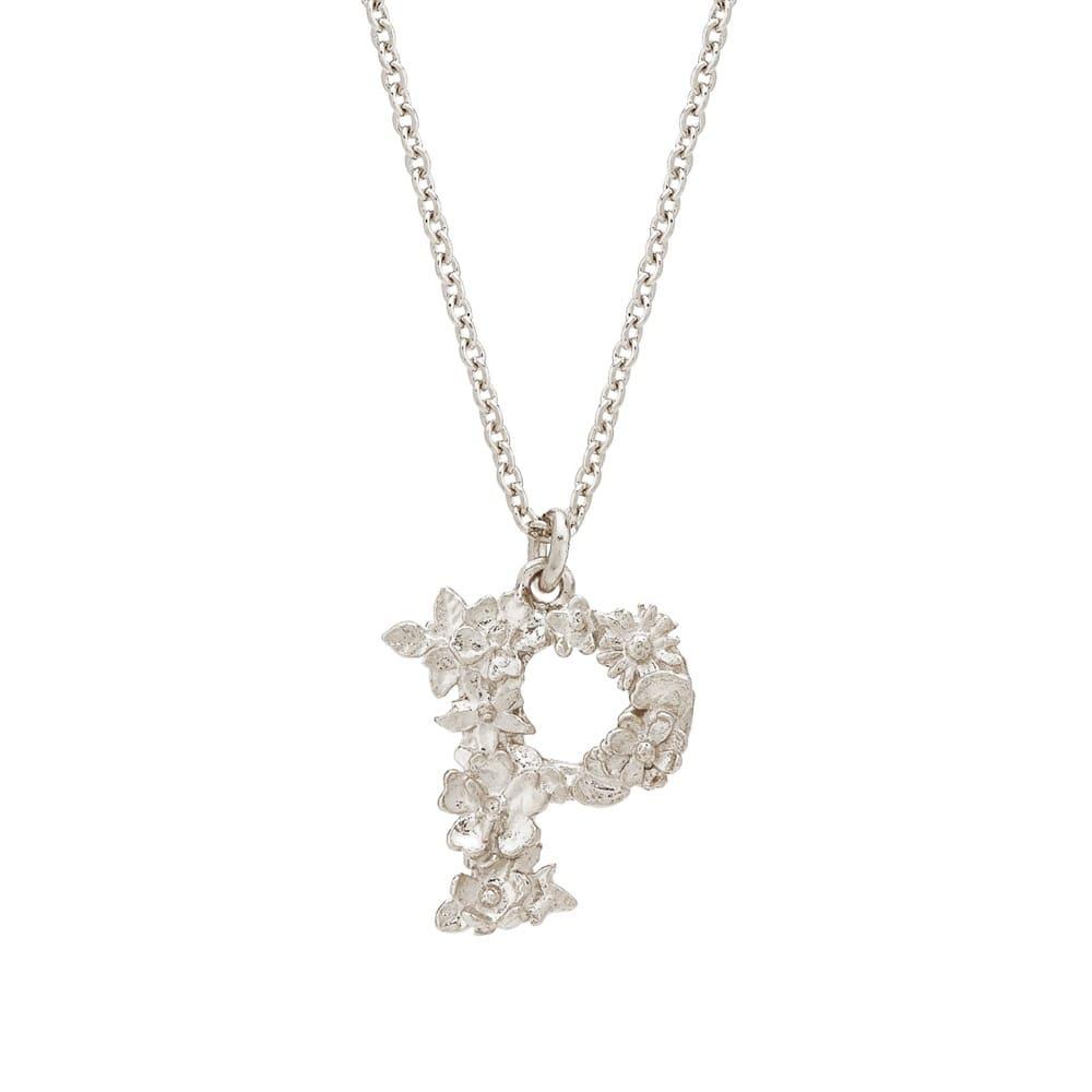 Floral Alphabet Silver Letter P Necklace