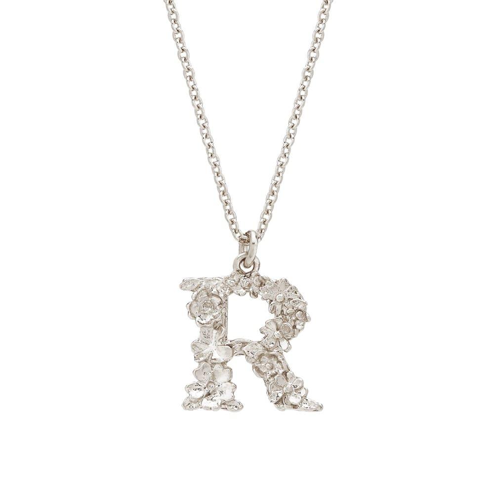Floral Alphabet Silver Letter R Necklace
