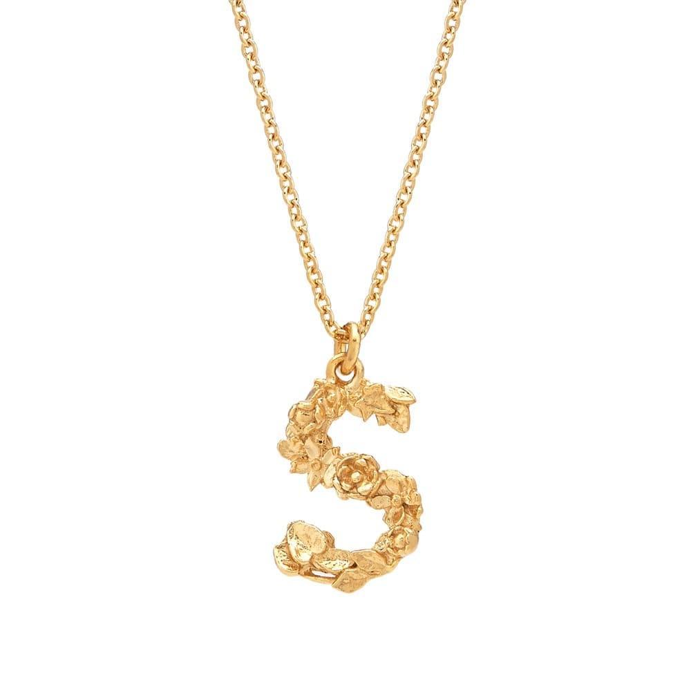 Floral Alphabet Gold Plate Letter S Necklace