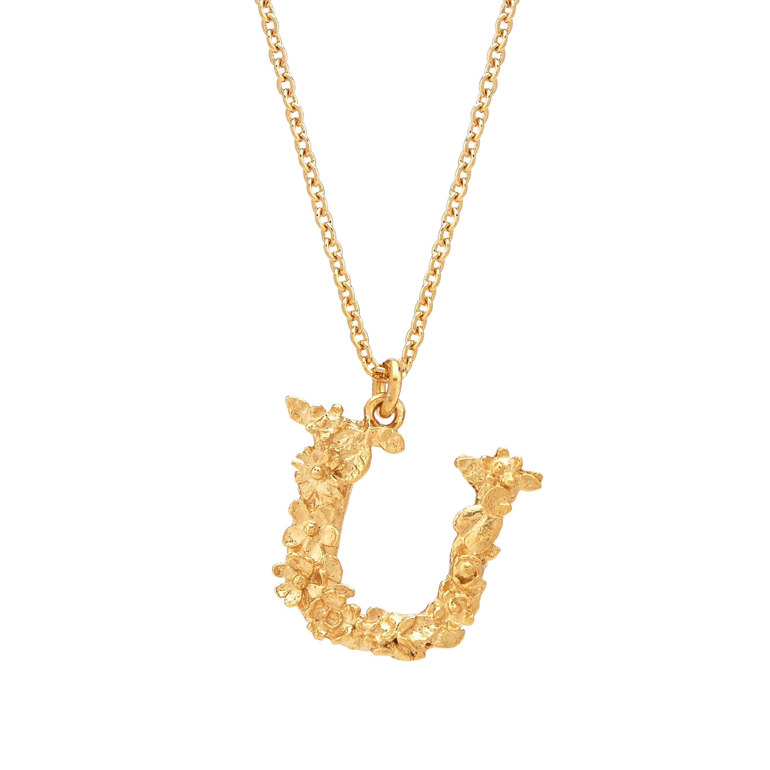 Floral Alphabet Gold Plate Letter U Necklace