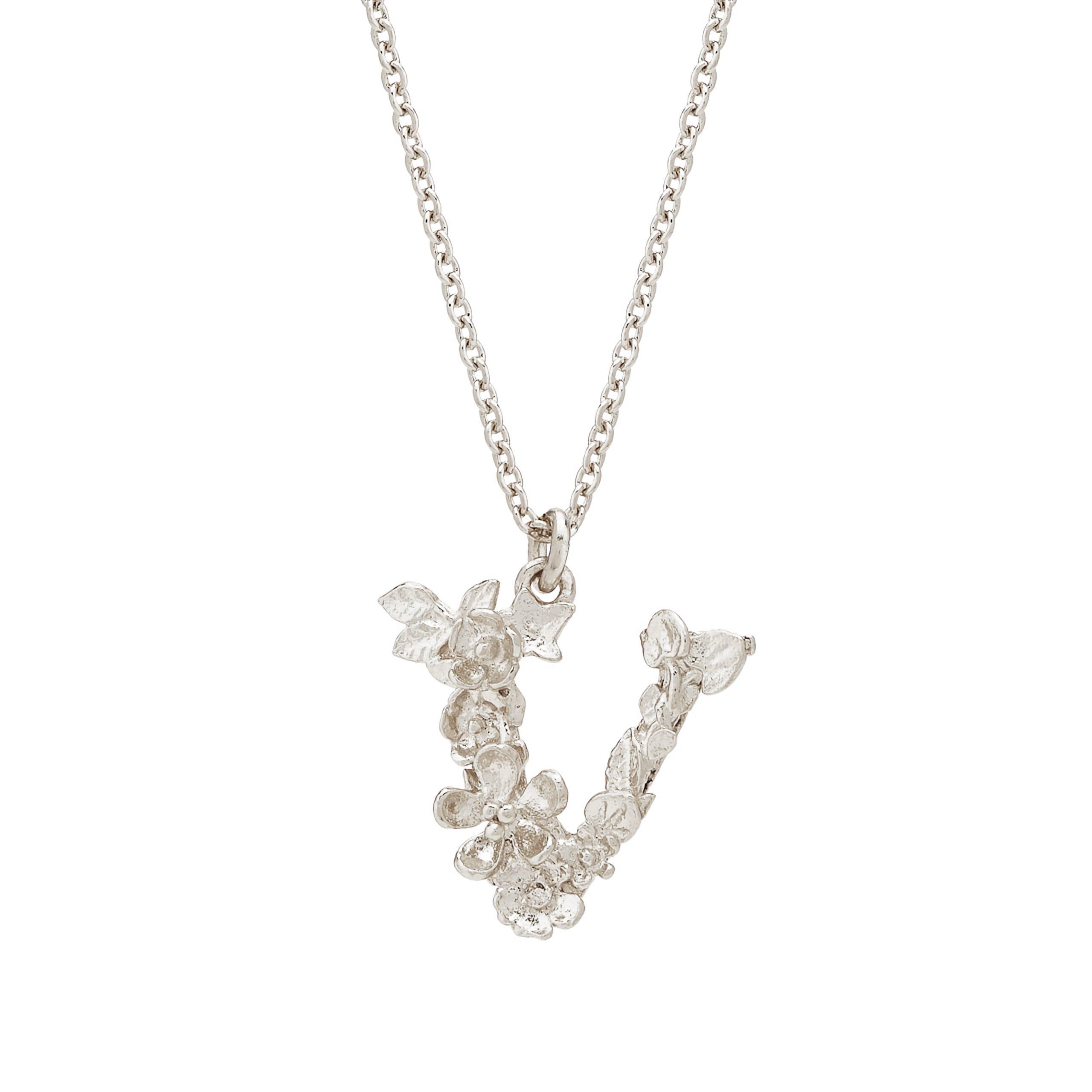 Floral Alphabet Silver Letter V Necklace