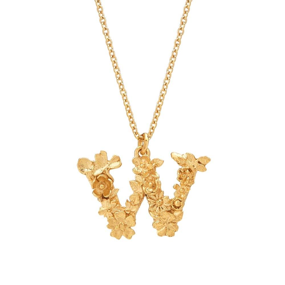 Floral Alphabet Gold Plate Letter W Necklace