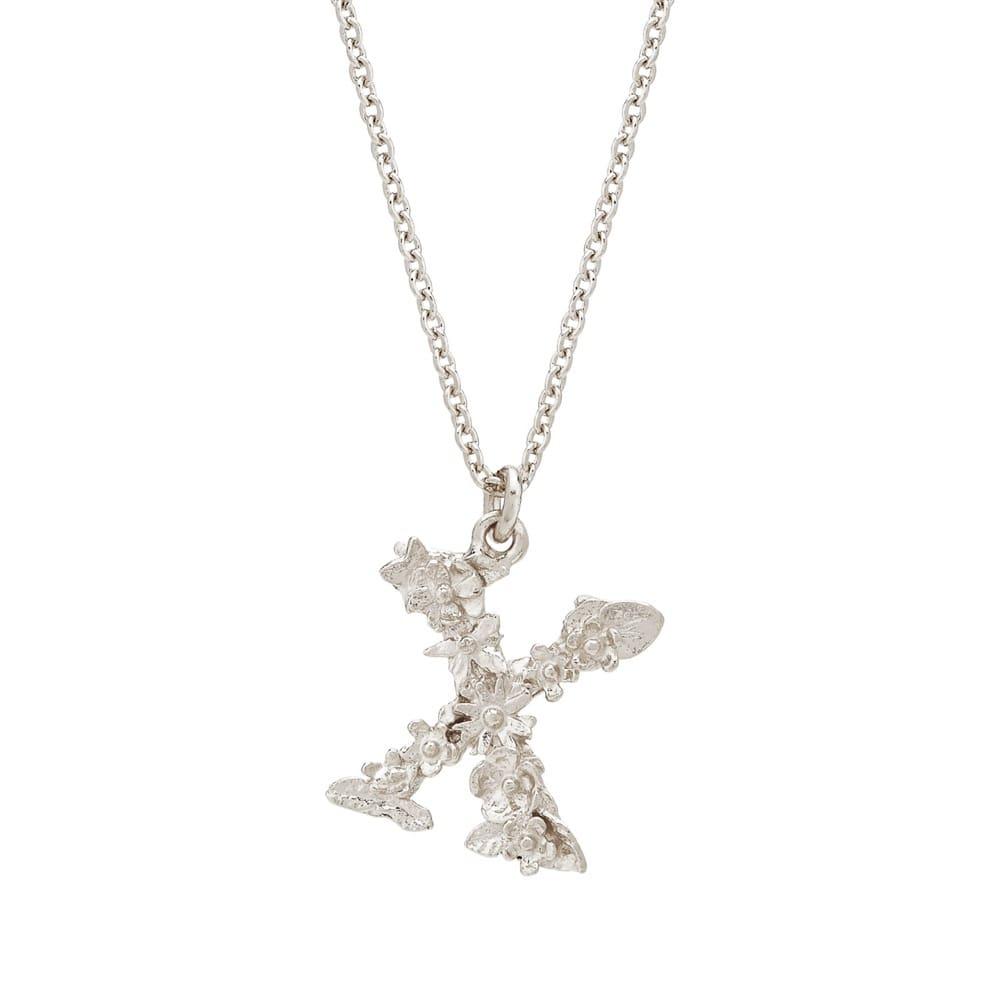 Floral Alphabet Silver Letter X Necklace