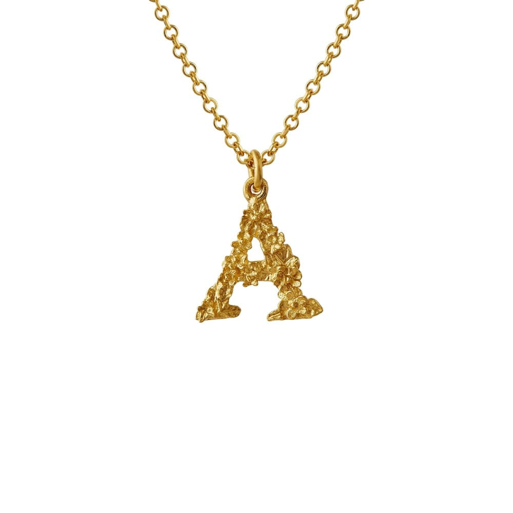 Teeny Tiny Floral 18ct Gold Letter A Necklace