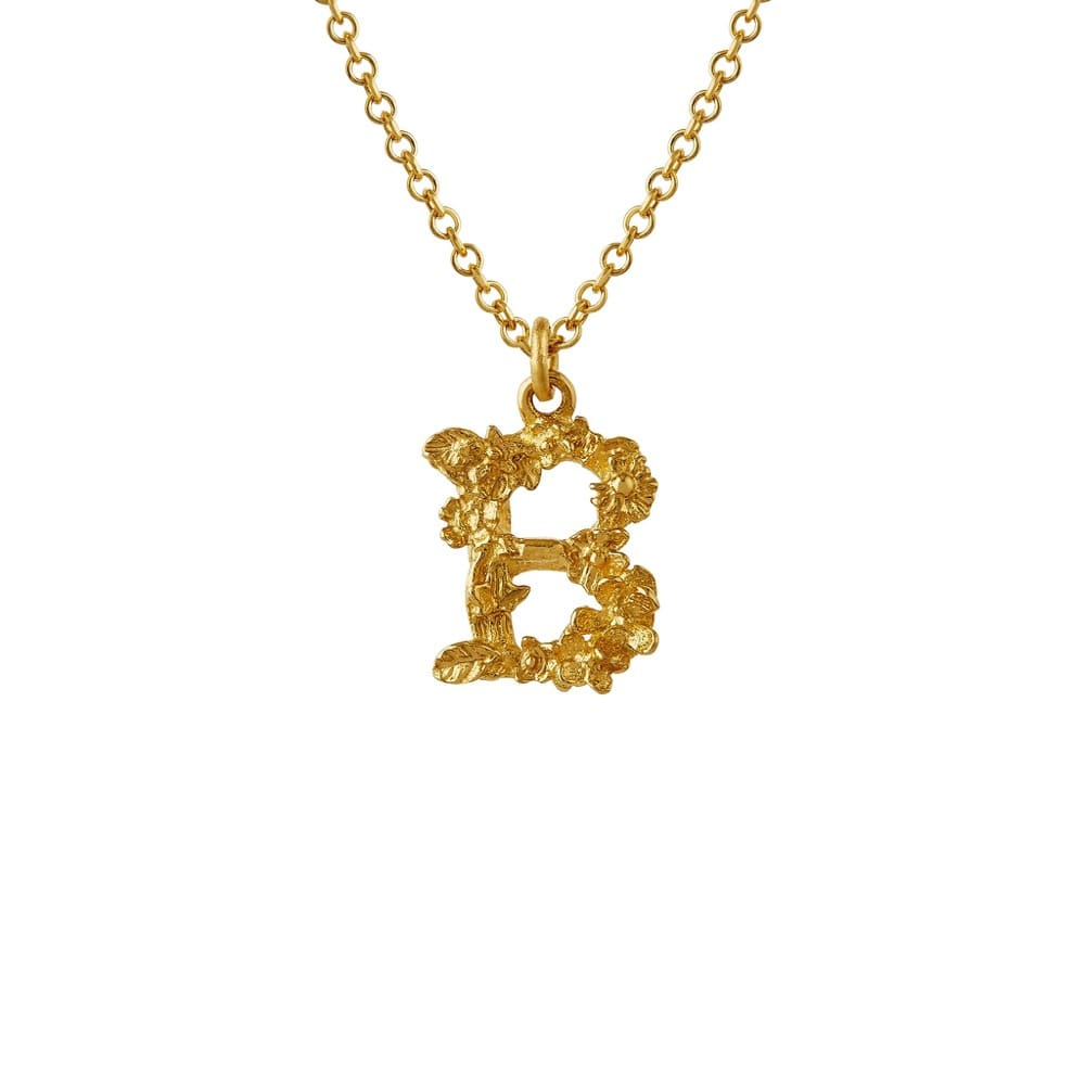 Teeny Tiny Floral 18ct Gold Letter B Necklace