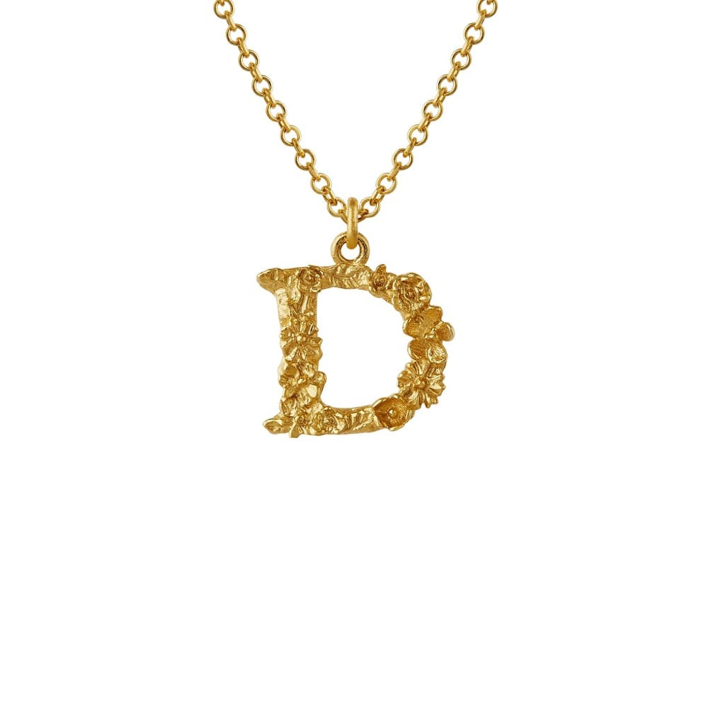 Teeny Tiny Floral 18ct Gold Letter D Necklace