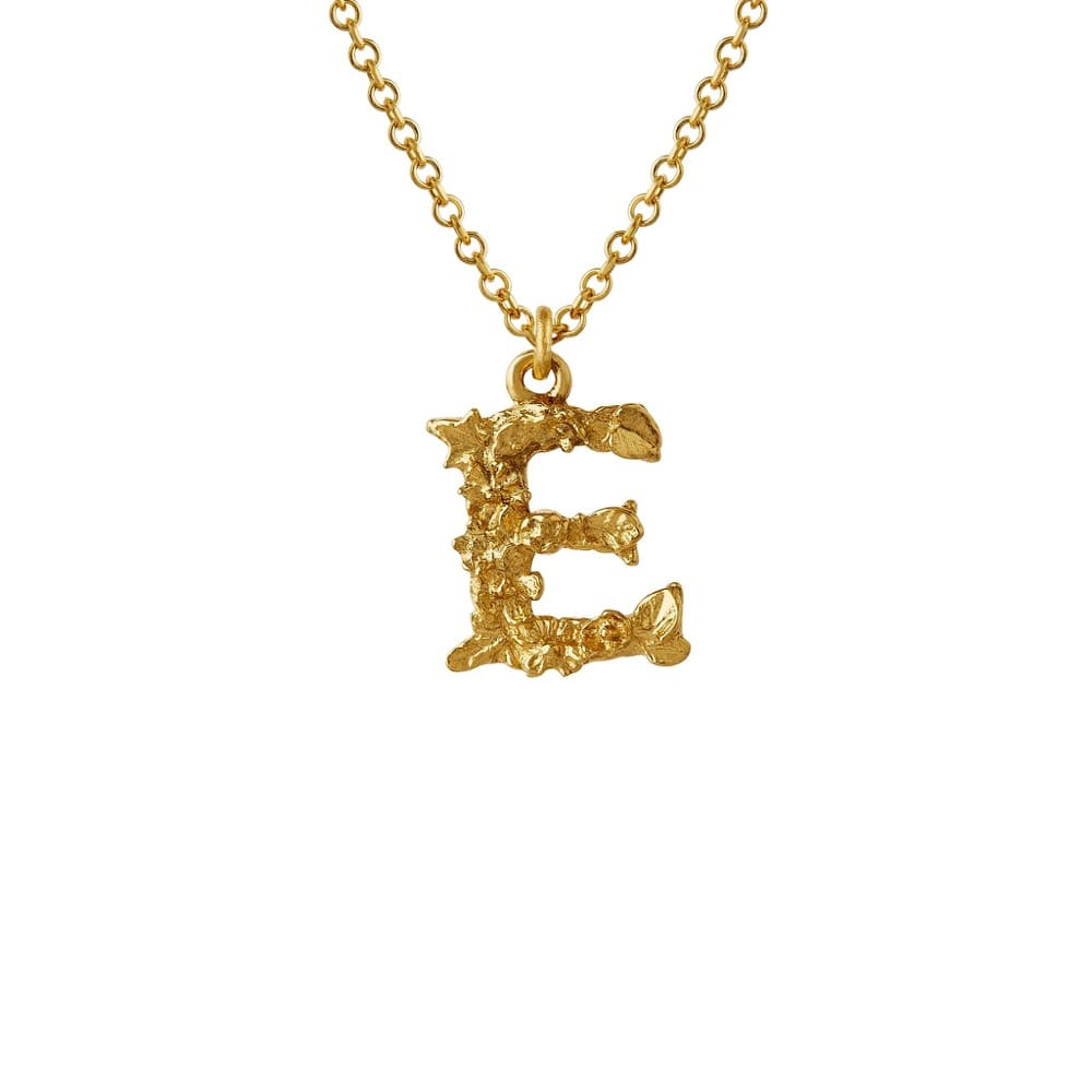 Teeny Tiny Floral 18ct Gold Letter E Necklace