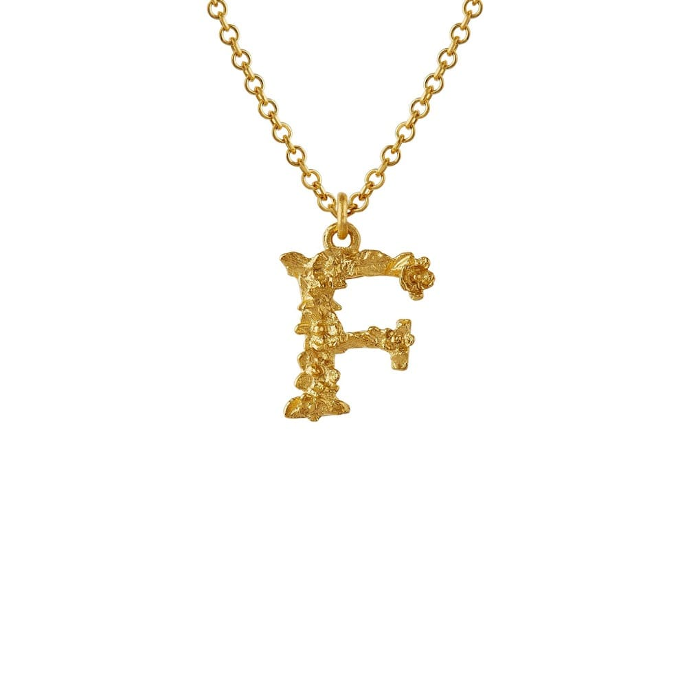 Teeny Tiny Floral 18ct Gold Letter F Necklace