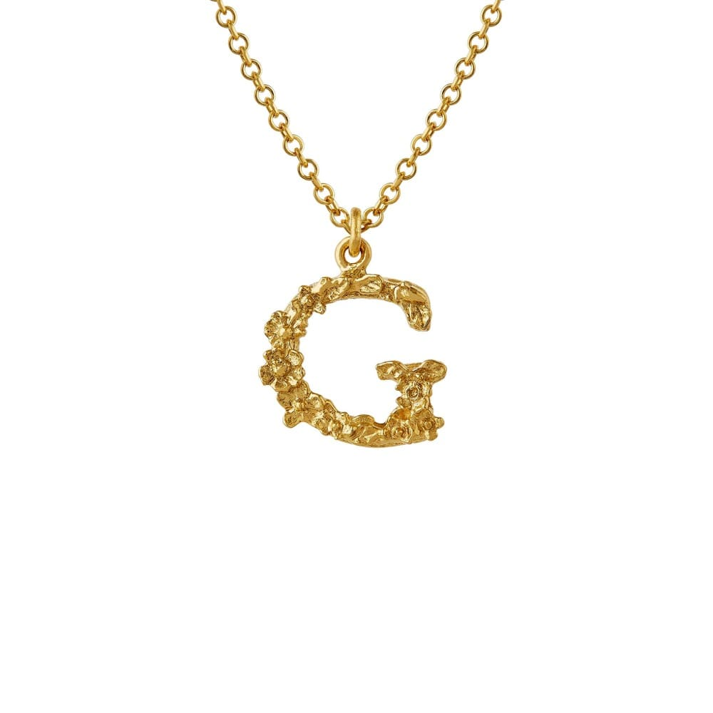 Teeny Tiny Floral 18ct Gold Letter G Necklace