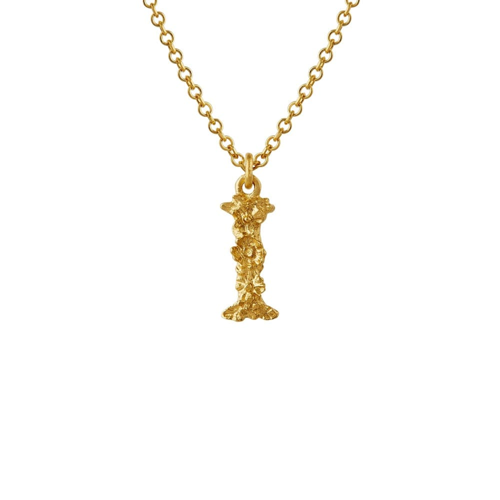 Teeny Tiny Floral 18ct Gold Letter I Necklace