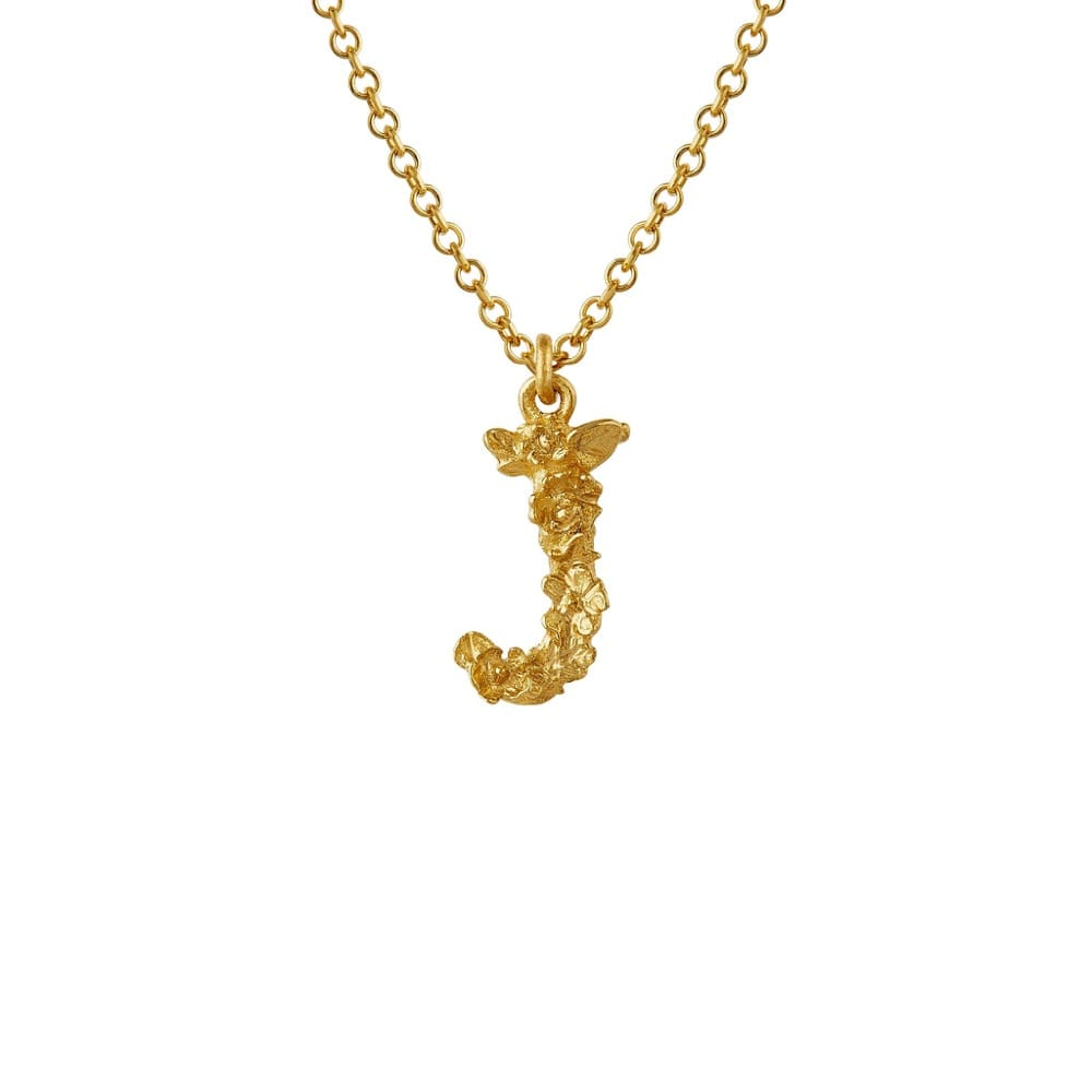 Teeny Tiny Floral 18ct Gold Letter J Necklace