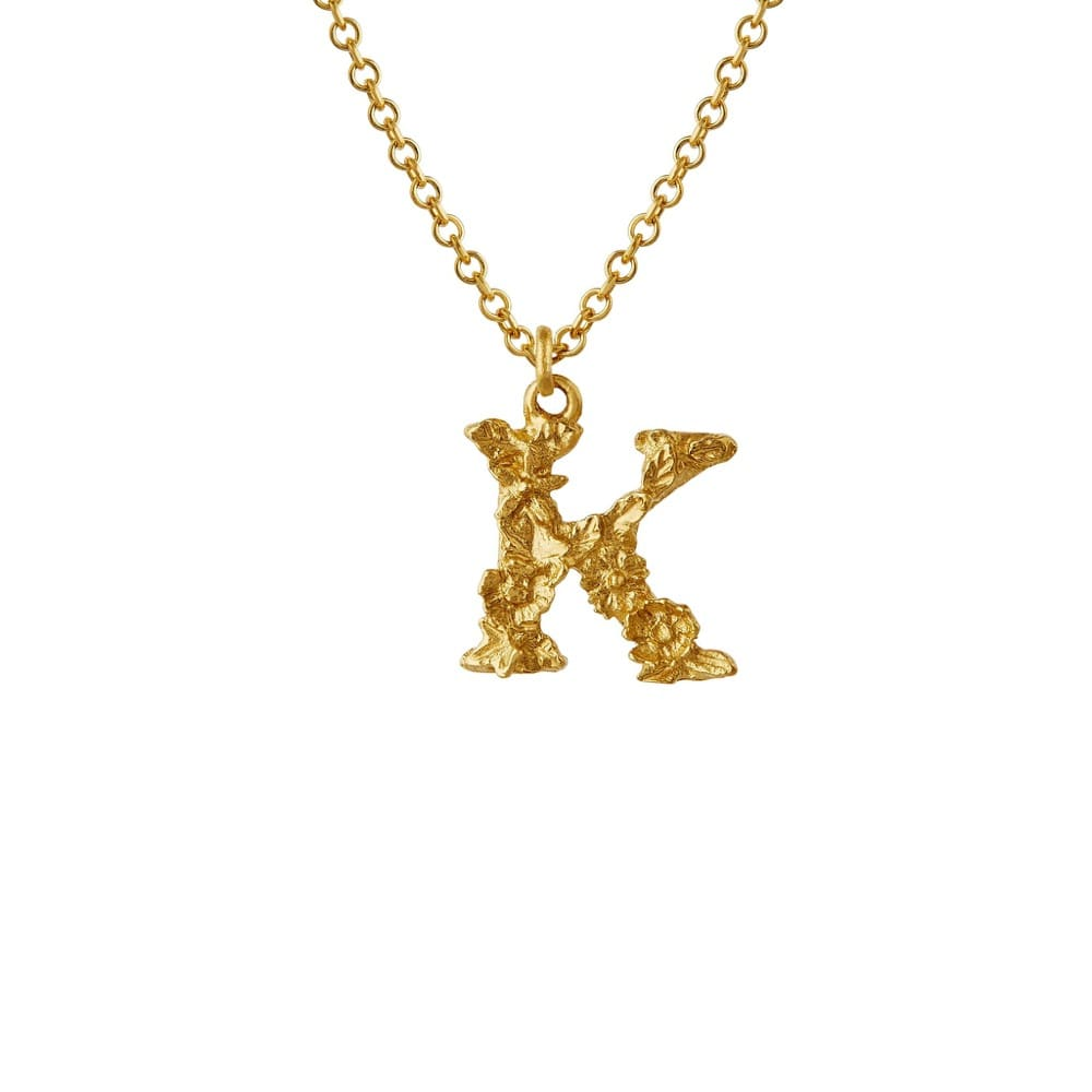 Teeny Tiny Floral 18ct Gold Letter K Necklace